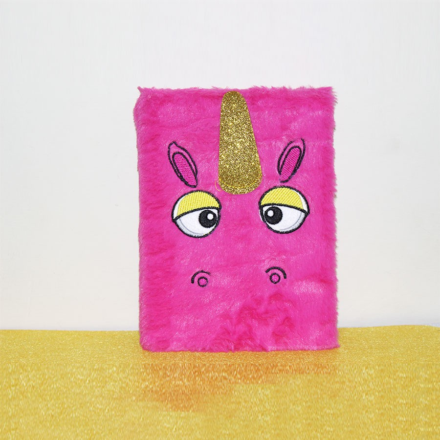 Pink Color Unicorn Plush Personal Notebook Diary