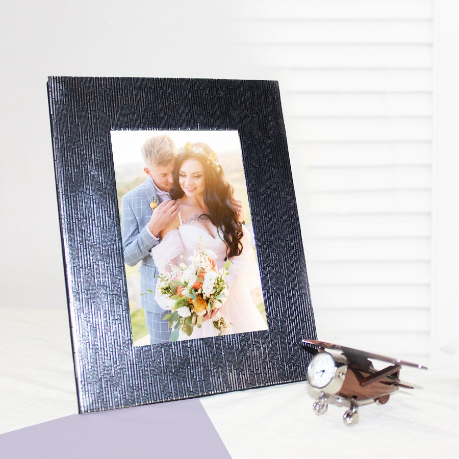 Dark Silver Designer Photo Frame Self Print Picture