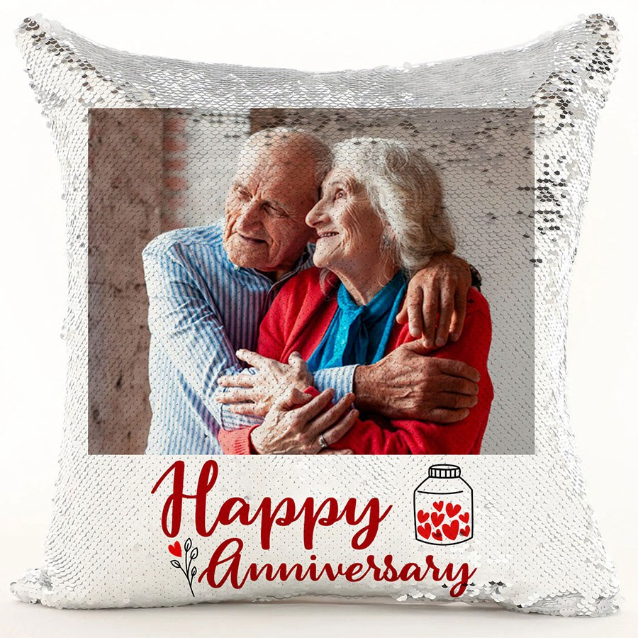 Anniversary Personalized Magic Sequin Cushion