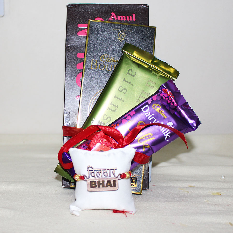 Dildar Bhai 3D ECO Friendly Rakhi with Chocolates Hamper