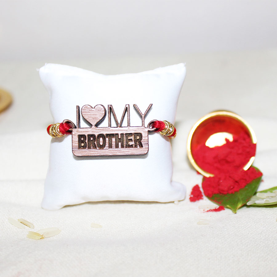 I Love My Brother 3D ECO Friendly Rakhi with Free Delivery and Roli Chawal