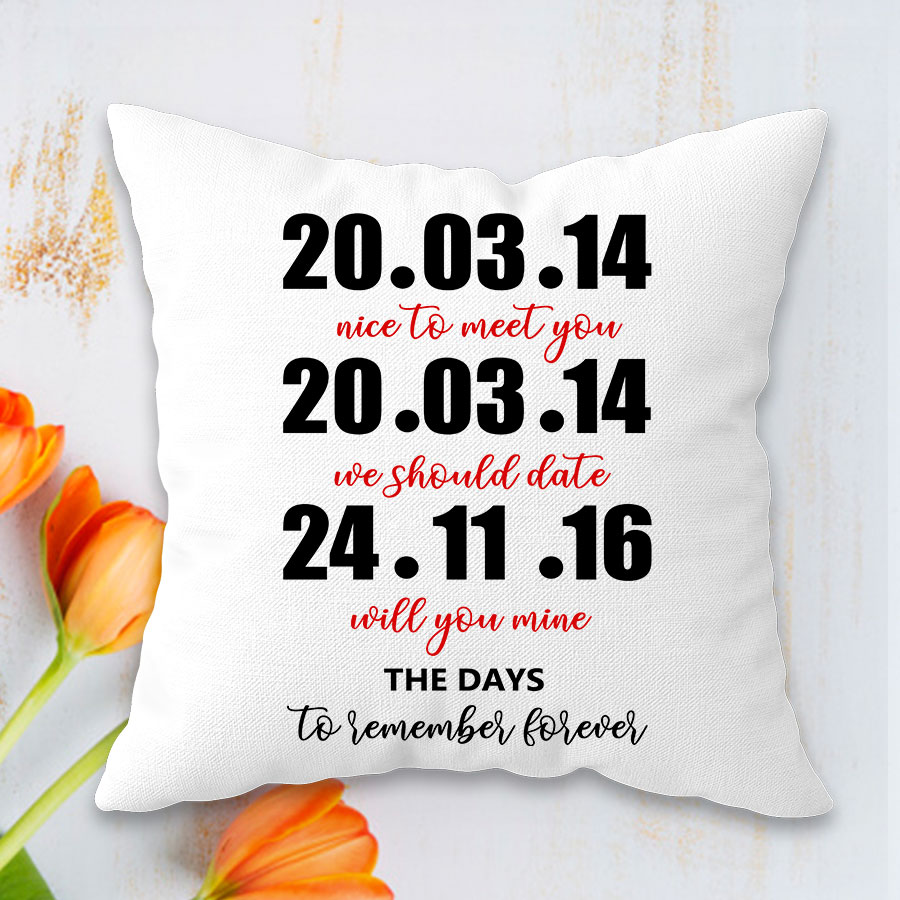 Personalized  date Cushion 12x12