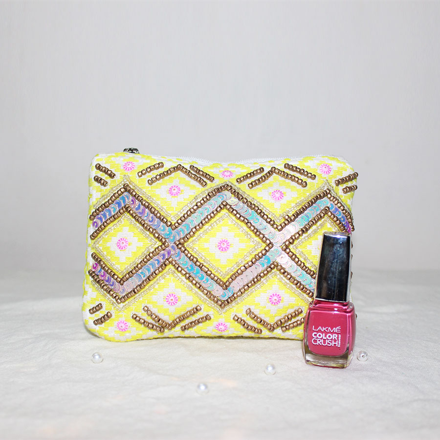 Yellow Color Hand Embroidered Pouch with  Lakme Nail Paint